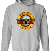 Grey Monogram Guns N Roses Print Pockets Plus Size Hooded Pullover Sweatshirt
