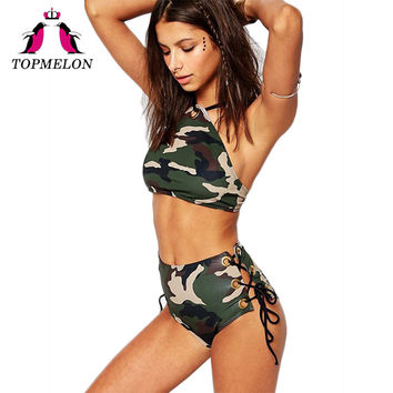 TOPMELON Swimwear Sexy Bikini Swimsuit High-Waist Push Up Lace-Up Army Green Bodysuit Stripe Bathing Suit Beachwear Sexy Bikini