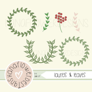 Laurels & Leaves - Digital Frames and Embellishments, Hand Drawn