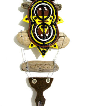 Polymer clay art, mixed media sculpture, assemblage art, polymer clay, wall hanging, driftwood sculpture, aboriginal art
