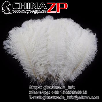 CHINAZP Factory 30-35cm(12-14inch) 200pcs/lot Natural White Ostrich Feathers Wedding Centerpieces