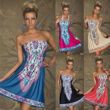 ONETOW Fashion Retro Maxi Hippie Boho Hot Pink/Blue/Red Paisley Print Strapless Summer Sun Dress Casual = 1931627972