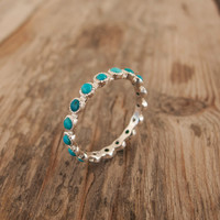 White Gold turquoise Ring - Eternity ring - Green stone ring - bridesmaid gift - anniversary ring - 14 Karat