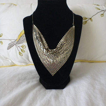 MESH NECKLACE Whiting and Davis Style silver tone Bib Necklace