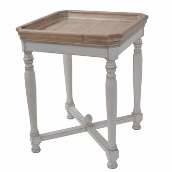 Square Shaped Wooden Side Table With Cross Base, Brown & Gray