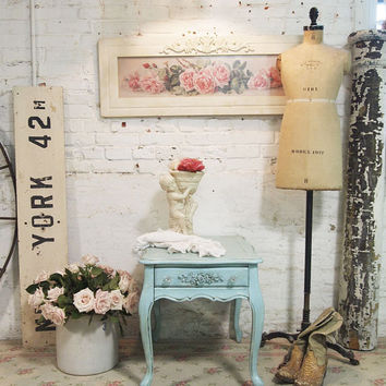 Painted Cottage Chic Shabby Aqua Romantic French Lamp Table ENT04