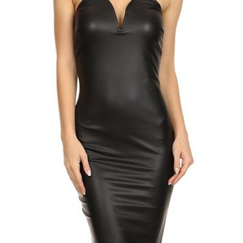 Sexy Faux Leather Strapless Sweetheart Neckline Bodycon Club Cocktail Dress
