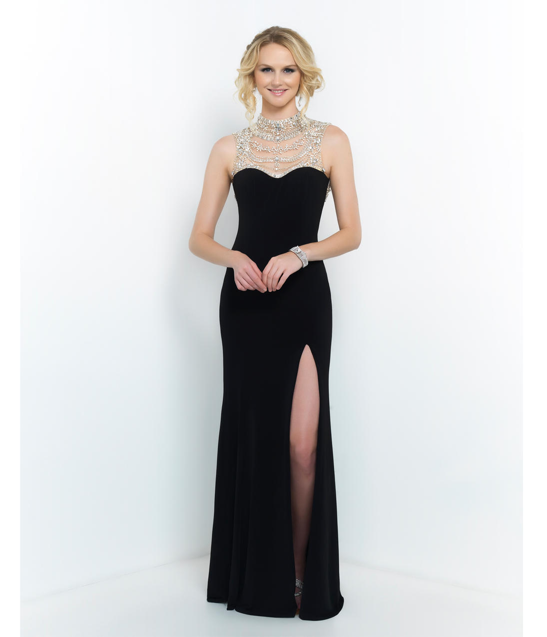 Black Hollywood Glam Beaded Neck Low Back From Unique Vintage