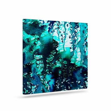 """Ebi Emporium """"The Perfect Storm - Turquoise"""" Blue Teal Painting Art Canvas"""