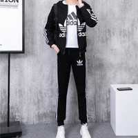 """Adidas"" Women Casual Fashion Letter Logo Print Short Sleeve T-shirt Long Sleeve Zip Cardigan Hooded Coat Trousers Set Three-Piece Sportswear"