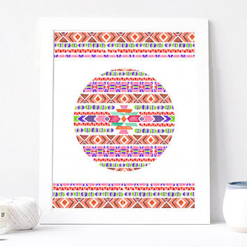 Triangle Boho Art Print, Indie Tribal Poster, Abstract Geometric, Hippie Hipster Aquarelle Art, Circle Triangle Print Printable, Watercolor