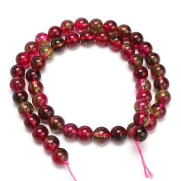 Length 8mm Watermelon Tourmaline Gemstone Round Red Loose Beads Jewelry DIY Chain