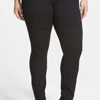 Plus Size Women's CJ by Cookie Johnson 'Abound' Stretch Skinny Moto Jeans (Black)