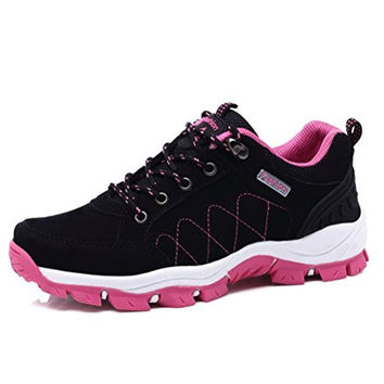 Always Pretty Women/Men's Casual Walking Hiking Trail Shoes Running Shoes Sneakers Black(Women) US 7