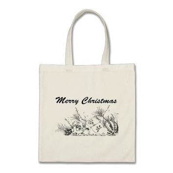 Merry Christmas Bauble Sketch Design Tote Bag