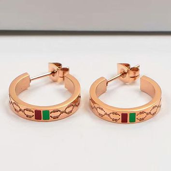 GUCCI Women Popular New Personality Circle Fashion Earring Rose Gold