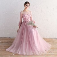 PEAPIH3 Fashion pink bridesmaid dress long section of the new thin evening dress