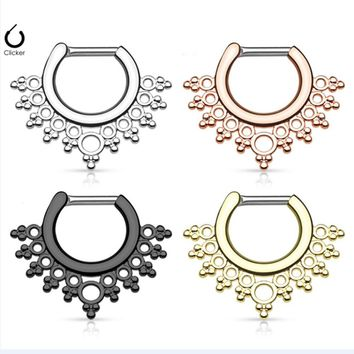 1PC Gold Nose piercing Indian Nose Ring Septum Piercing Real Copper Septum Clicker Rose Gold Nose Pircing Body Piercing Jewelry
