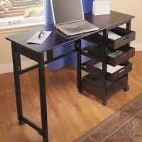 Black Fold Away Rolling Desk Work Station 4 Drawers Sewing Crafts Home School