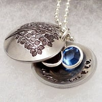 Hand Stamped Necklace - Personalized - Silver - Family Tree Locket With Birthstones
