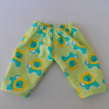 "American Girl Bitty Baby Clothes 15"" Doll Clothes Green Turquoise Yellow Lion Flannel Pj Pants Bottoms"