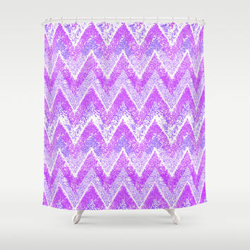 purple snow chevron Shower Curtain by Marianna Tankelevich