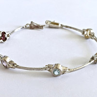 "Vintage Sterling 7"" Line Link Bracelet with Bezel Set Multi Colored Gemstones, Delicate, Stackable Semi-Precious Gemstone Tennis Bracelet"