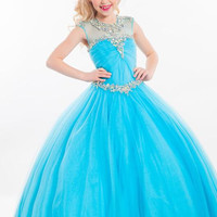 Puffy Kids Beauty Junior Pageant Dresses For Little Girls Toddler Pageant Gowns Blue Flower Girl Dresses Peach Color Party Dress