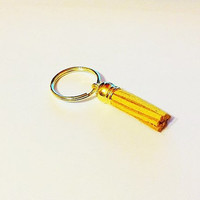 Yellow tassel keychain, gold keychain, tassel keychain, cute keychain, purse accessories,