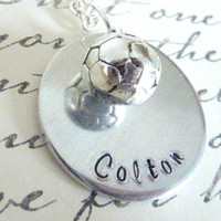 Personalized Soccer Ball Necklace Hand stamped soccer custom necklace sports