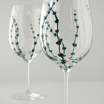 Hand Painted Wine Glass - Lavender Bud Glasses - Set of 2 Painted Glasses - Mothers Day Gift