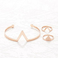 V-Cutout Wrist Cuff and Ring Set