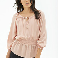 FOREVER 21 Tie-Neck Peasant Top Peach