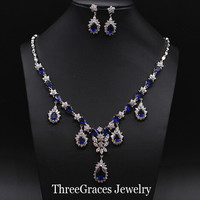 ThreeGraces Elegant White Gold Color Water Drop Dark Blue CZ Stone Vintage Big Bridal Jewelry Sets For Women Wedding JS076