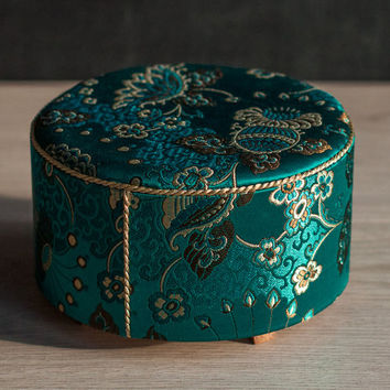 "1/4 scale Doll Ottoman Seat with Emerald Green Brocade Upholstery, Furniture for MSD-size BJD's, Sybarites, Tonners, 16""-18"" dolls."