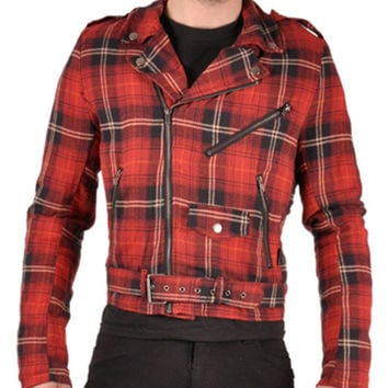 Tripp Men's Flannel Moto Red Plaid Jacket Punk Industrial Goth