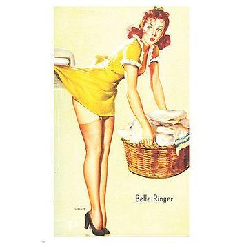 PIN-UP holding BASKET poster 24X36 cute REDHEAD caught from BEHIND sexy HOT