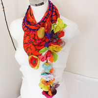 Handmade orange scarf, Orange scarf ethnic, Ethnic Turks fabric, Orange triangle scarf, Ethnic scarf accessories, Women's accessories