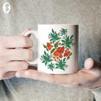 Tropical Floral Illustrated Ceramic Coffee Mug, Floral Mug, Kitchen Mug, Unique Coffee Mug, Gift for Her, Statement Mug, Floral Coffee Mug
