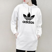 ADIDAS Clover autumn and winter new women's retro round neck college wind dress white