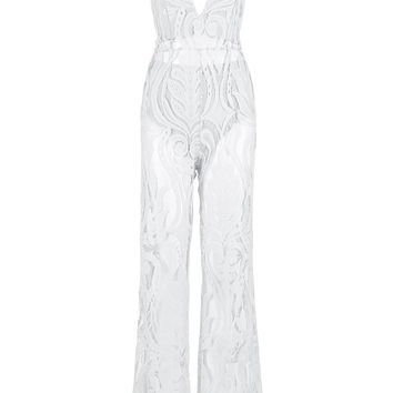 Honey Couture ORLA White Lace V Neck Jumpsuit