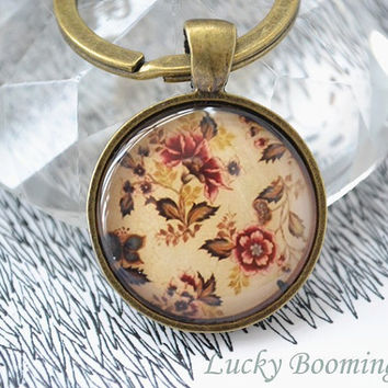 Retro Flowers keychain,blossom key ring ,Floral patchwork Glass Picture Pendant Photo Pendant  K4