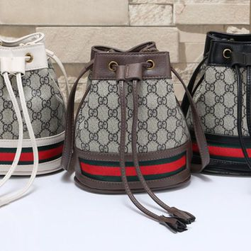 """""""Gucci""""Personality All-match Stripe Classic Retro Draw String Fashion Zip Print Unisex Shoulder Messenger Bag Backpack"""