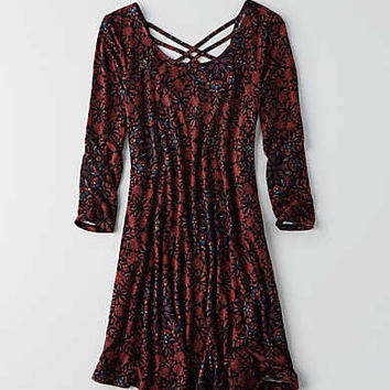 AEO Strappy Back Swing Dress, Burgundy