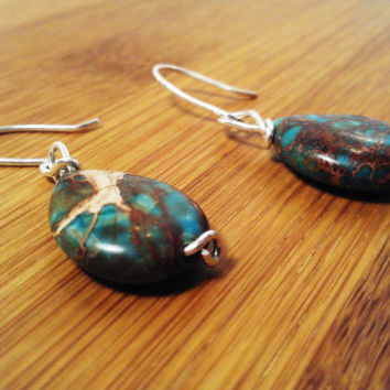 Boho Dangle Earrings Sterling Silver Sea Sediment Jasper Teardrop Wire Wrapped Gemstone Womens Bridal Party Bridesmaid Mother Birthday Gift