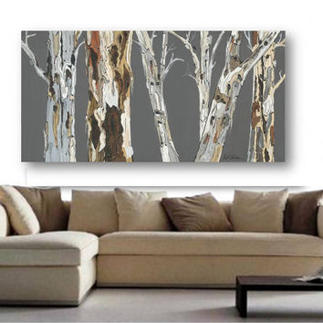 VERY LARGE Wall Art Print tree Art Rolled canvas soft pastels Gray white brown Abstract Landscape Office living room Artwork FREE shipping