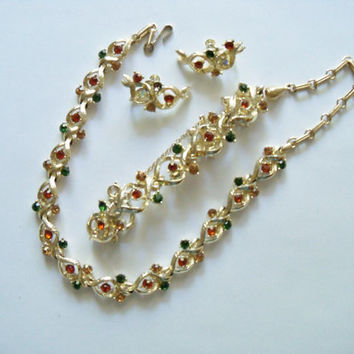 Vintage Jewelry Set Coro Green Orange Amber Rhinestones Gold Tone Second Marriage Wedding Special Occasion Gift Idea PRICE REDUCED