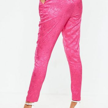 Missguided - Pink Jacquard Pajama Style Pants