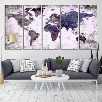 68127 - World Map Wall Art- World Map Canvas- World Map Print-  World Map Poster- World Map Art- World Map Push Pin