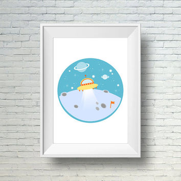 Space Nursery Wall Print, Boy Nursery Print, Children's Wall Art, Digital Nursery Art, Kids Art Print, Outer Space Decor, Boys Room Wall Art
